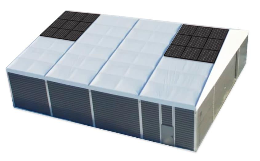 Hangar solaire tente de stockage
